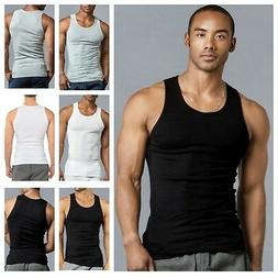 3 6 PACK Men Black Tank Top Cotton A-Shirt Wife Beater Ribbe