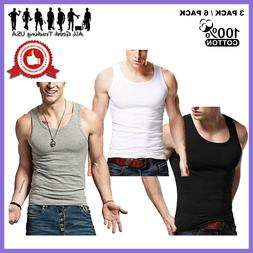 3-12 Packs Mens 100% Cotton Tank Top A-Shirt Wife-Beater Und