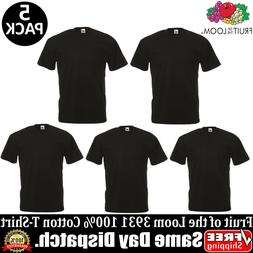 5 PACK OF FRUIT OF THE LOOM Plain Mens Black T Shirt S to XL