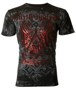ARCHAIC by AFFLICTION Mens T-Shirt ACHILLES Cross Wings BLAC