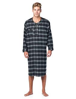 Ashford & Brooks Mens Flannel Plaid Long Sleep Shirt Henley