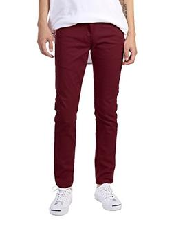 JD Apparel Men's Basic Casual Colored Skinny Fit Twill Pants