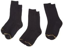 Gold Toe Big Boys'3 Pack Microfiber Dress Crew Sock, Black,