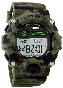 Boys Camouflage LED Sport Watch,Waterproof Digital Electroni