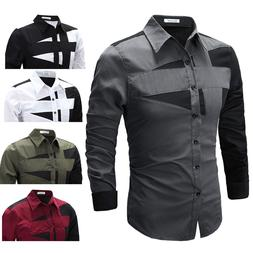 Classic Mens Luxury Long Sleeve Shirt Casual Slim Fit Stylis
