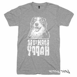 CLEARANCE, Dog T-Shirt, Born To Be Happy, Mens LARGE, Americ