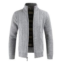 Clearance Forthery Men's Zip Knitted Cardigan Fleece Knitted