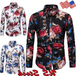 Fashion Men's Summer Casual Dress Shirt Mens Floral Long Sle