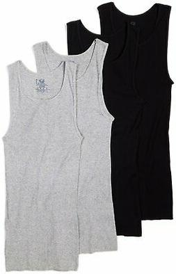 Fruit of the Loom Men's A-Shirts 4-Pack Tanks Size 3XL Black