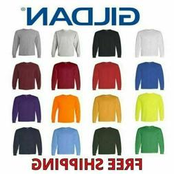 Gildan Heavy Cotton Men's Long Sleeve T Shirt Blank Plain Te
