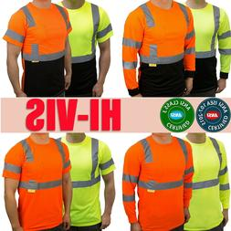 Hi Vis ANSI Class 3 Work Safety Long Sleeve T Shirt High Vis