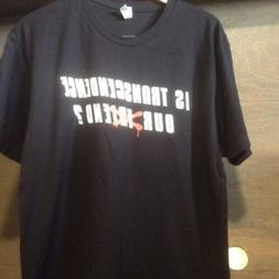 IS TRANSCENDENCE OUR FRIEND?  TEE SHIRT NWOT SIZE LARGE BLAC