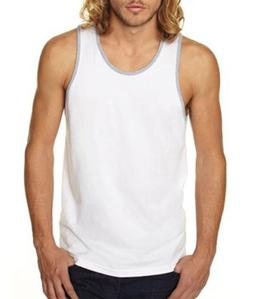 Next Level Men's Jersey Tank - White/Heather Grey