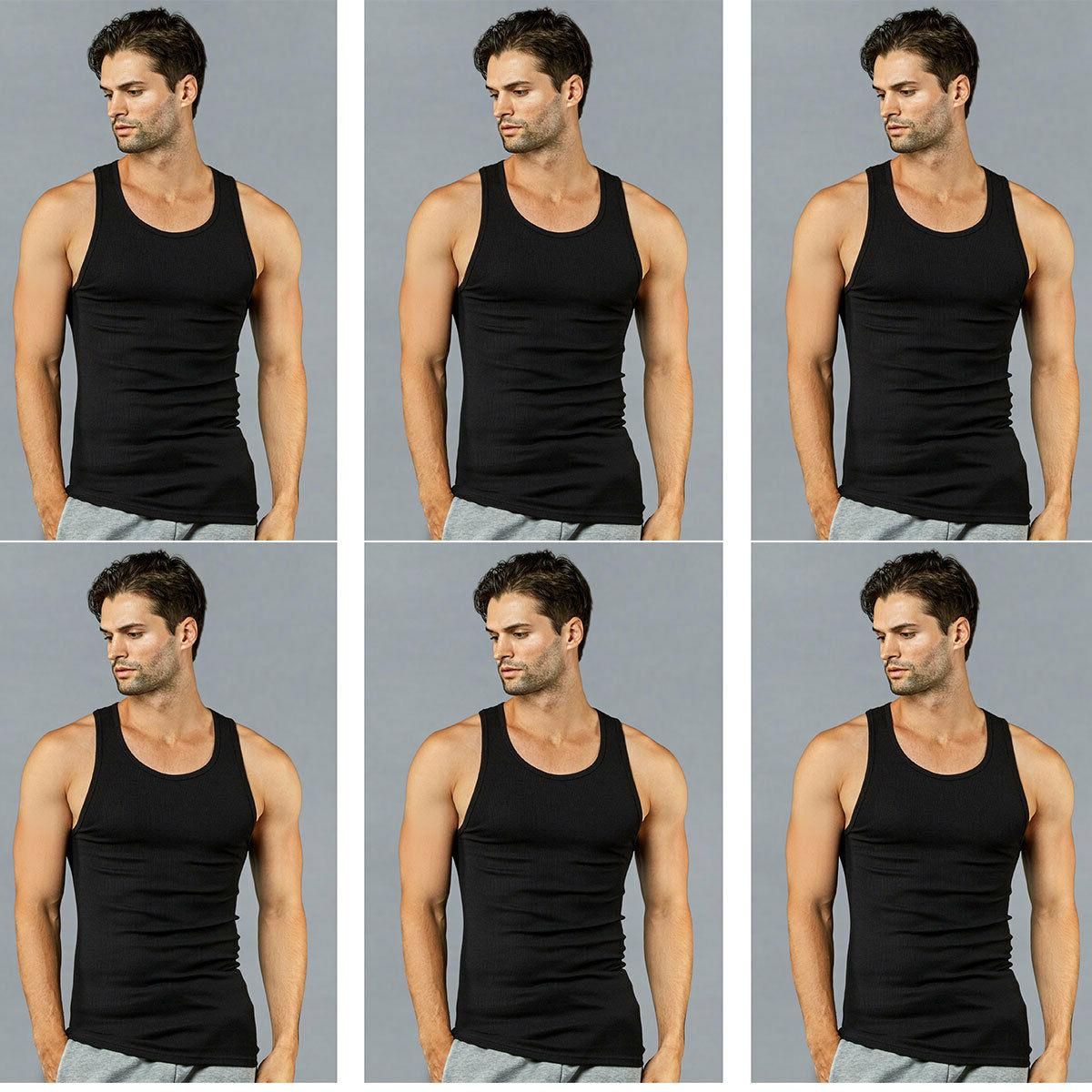 6 pk mens black tank top 100