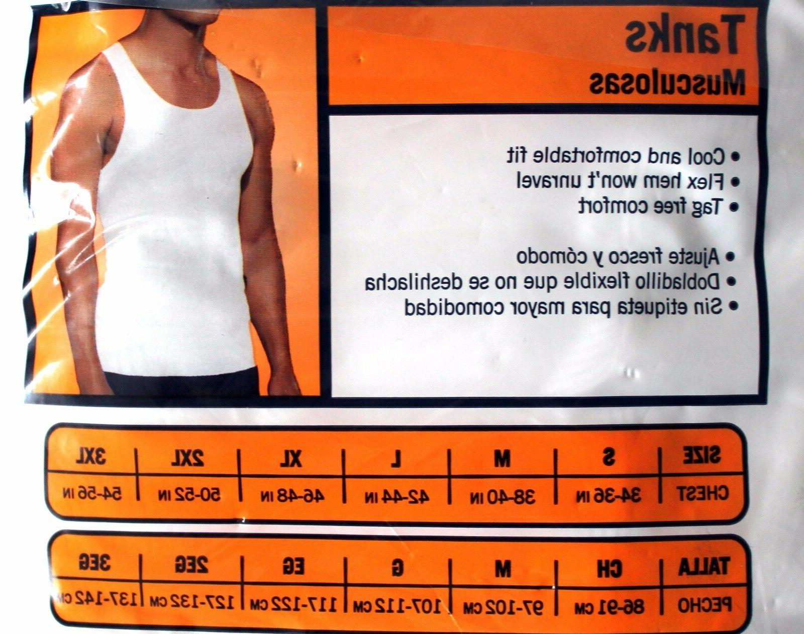 8 THE MENS WHITE RIBBED TAG-LESS TANK TOPS 100% COTTON