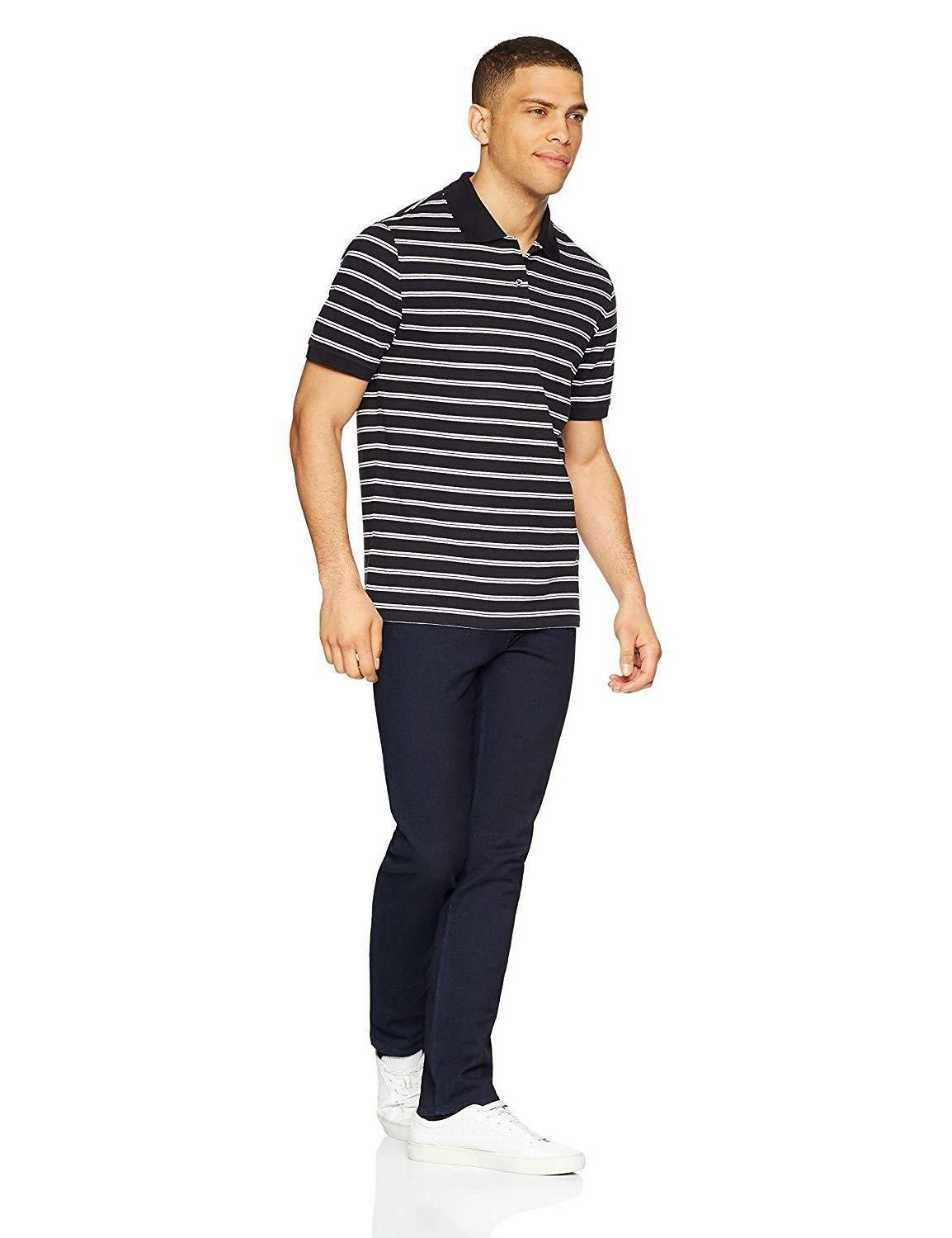 Amazon Men's Striped Cotton Pique Shirt