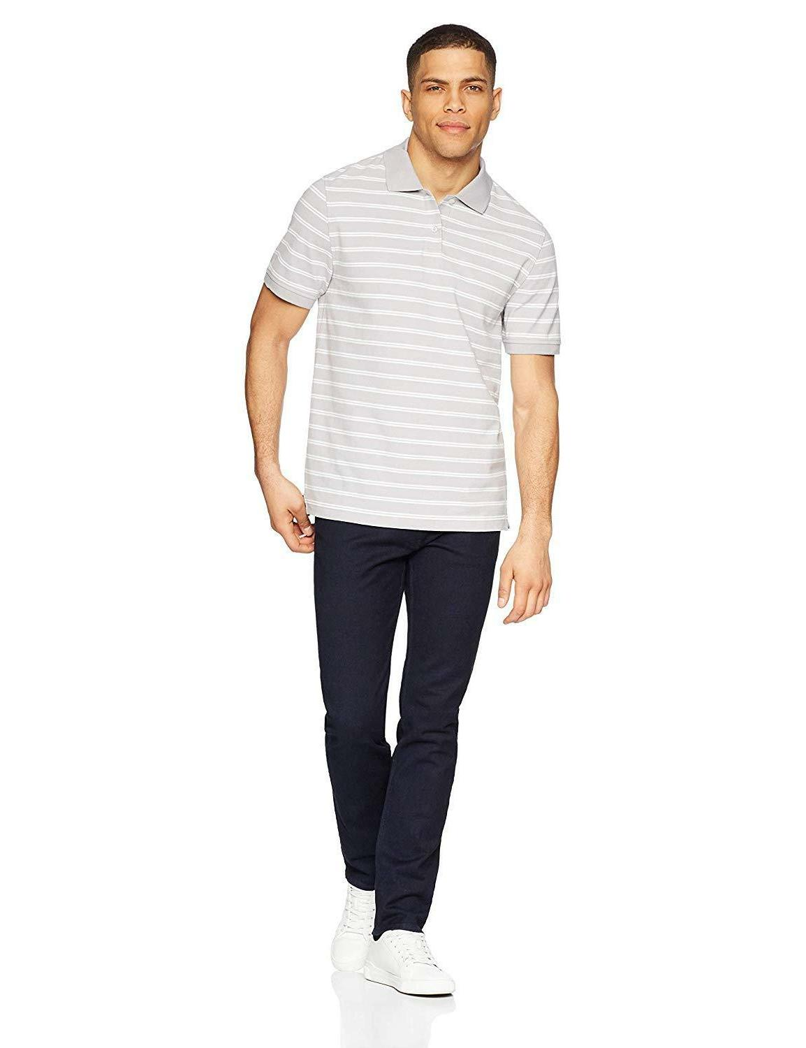 Amazon Essentials Men's Slim-Fit Striped Pique Shirt