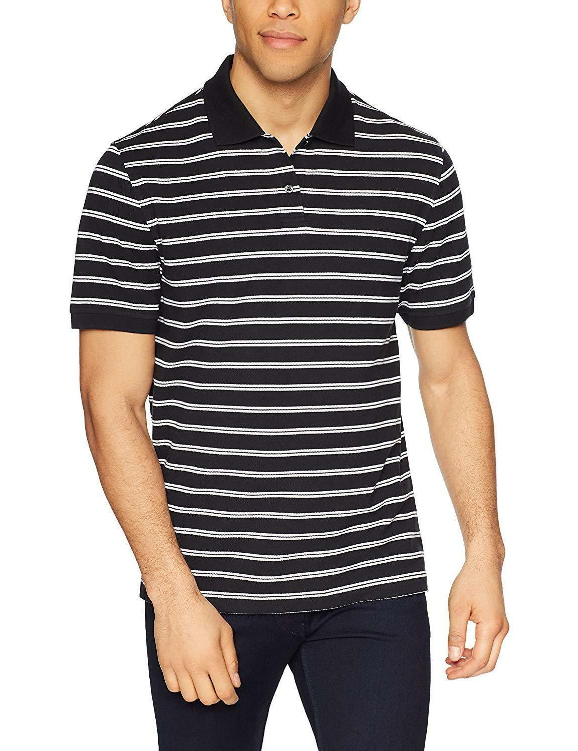 Amazon Essentials Men's Striped Cotton Pique Shirt