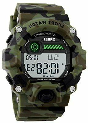 boys camouflage led sport watch waterproof digital