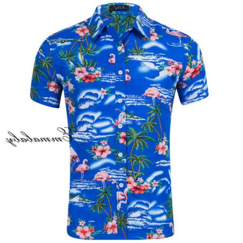 Fashion Hawaiian Shirt Flower Aloha Casual Holiday Short