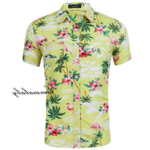 Fashion Hawaiian Mens Flower Casual Holiday Short Sleeve