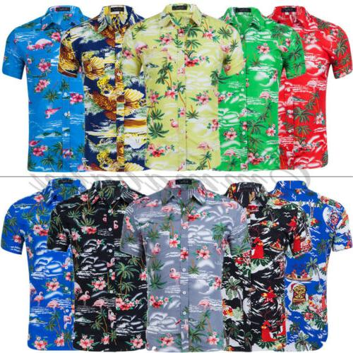 Fashion Hawaiian Shirt Mens Flower Beach Party Casual