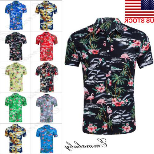 fashion hawaiian shirt mens flower beach aloha