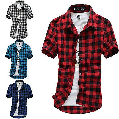 Fashion Mens Summer Casual Dress Shirt Mens Plaid Short Slee