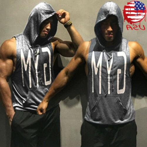gym hot men clothing stringer hoodie bodybuilding