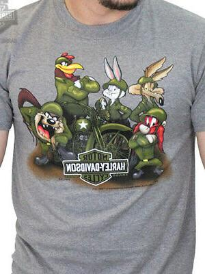 harley davidson looney tunes mens ww2 army