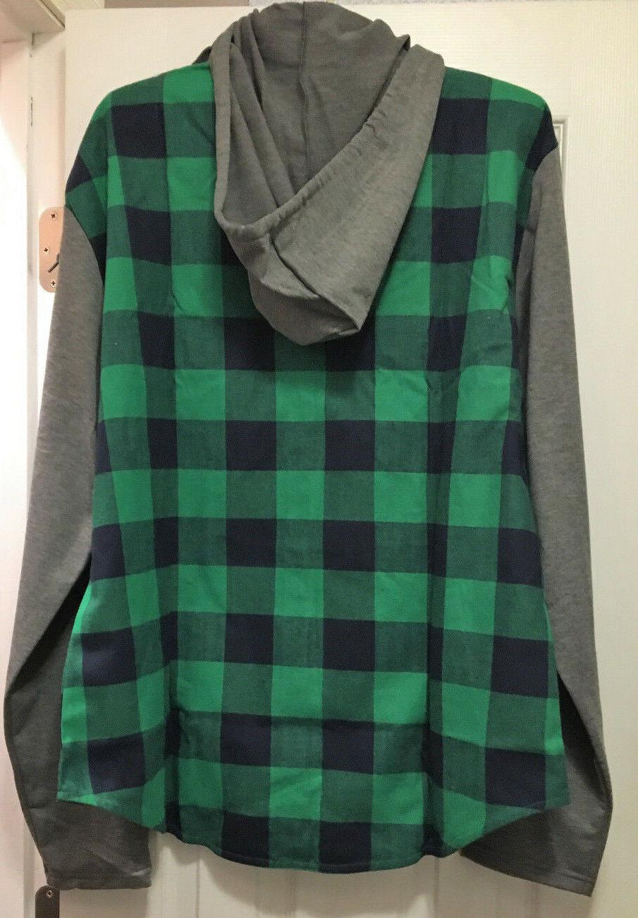 COOFANDY Hooded Long Plaid Button