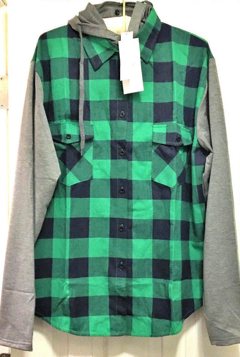hooded long sleeve plaid button down shirt