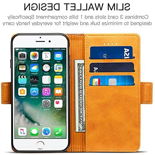 iPhone 7 8 Plus SINIANL Leather Flip Folio Book Wallet with Kickstand Card & and Magnetic Closure TPU Shockproof Case 7
