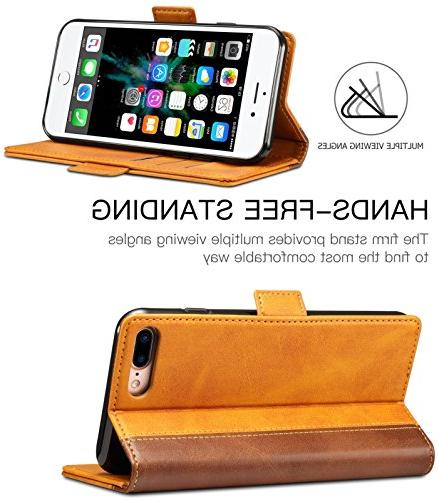 iPhone 8 Plus Wallet Case, SINIANL Leather Flip Folio Book Wallet Cover with Magnetic Case for Plus