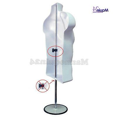 Male Mannequin Form + Stand Apparel Men T-Shirt WHITE