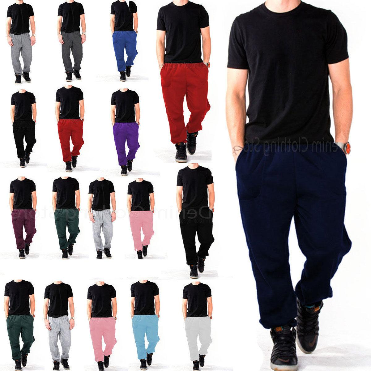 MEN WOMEN UNISEX SWEATPANTS FLEECE WORKOUT GYM PANTS S-5XL