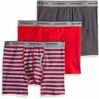 Cherokee Men's Cotton Stretch Boxer Briefs 3 Pack Red Stripe