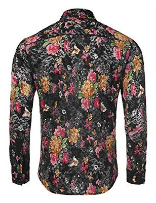 Coofandy Lace Casual Button