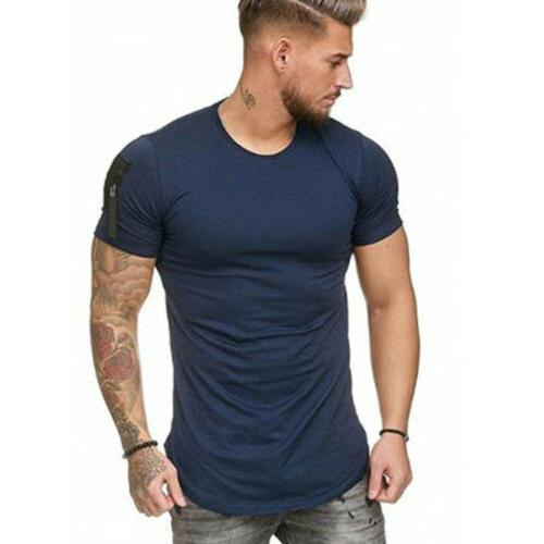 Men's Neck Short Sleeve Muscle T-shirt Casual Blouse