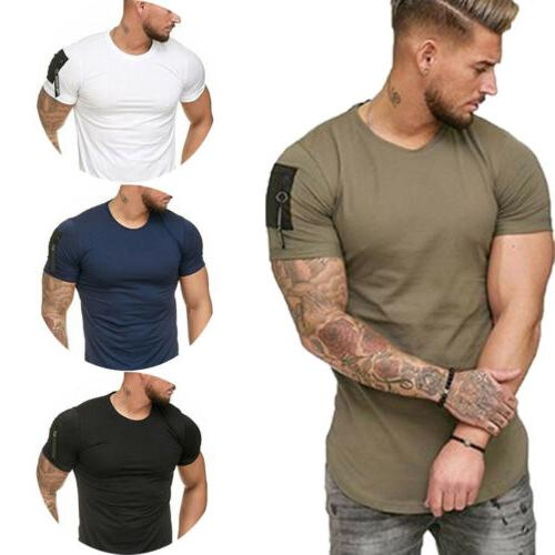 Men's Slim Neck Short Sleeve zipper Muscle Tee Blouse
