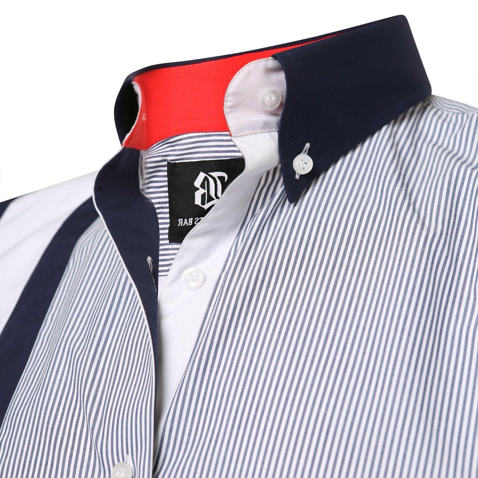 Men's Stripe Italian Dress Designer Luxury Shirts Casual