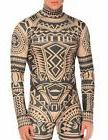 COOFANDY Men's Tribal Tattoo Thermal Turtleneck Pullover Sli
