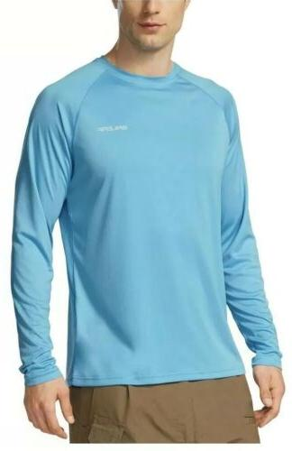 Baleaf Men's UPF 50+ Outdoor Running Long Sleeve T-Shirt Blu