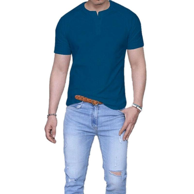 Men Henley T-Shirts Henley Shirt Blouse Tee Tops