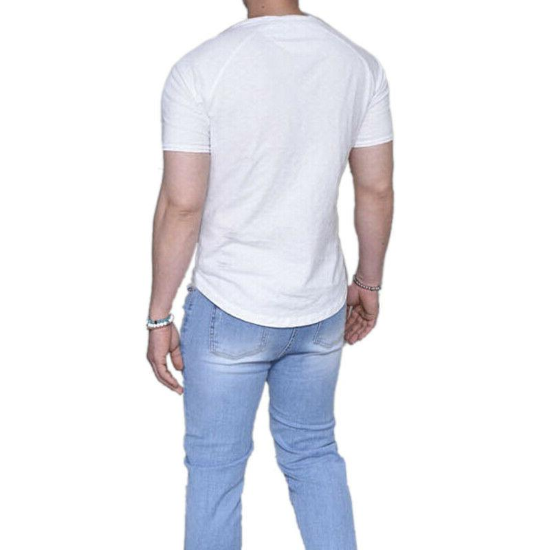 Men Summer Short Henley Plain Henley Shirt Blouse Tops