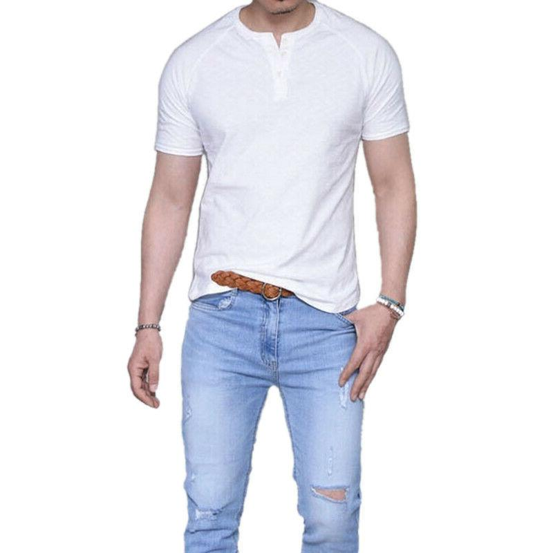 Men Short Henley T-Shirts Plain Henley Blouse