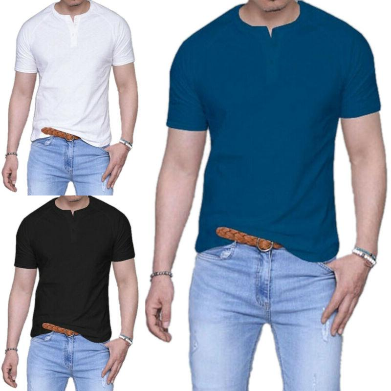 Men Summer Henley Plain Henley Shirt Blouse Tee