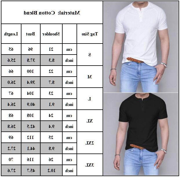 Men Short Henley Plain Loose Henley Blouse Tee Tops