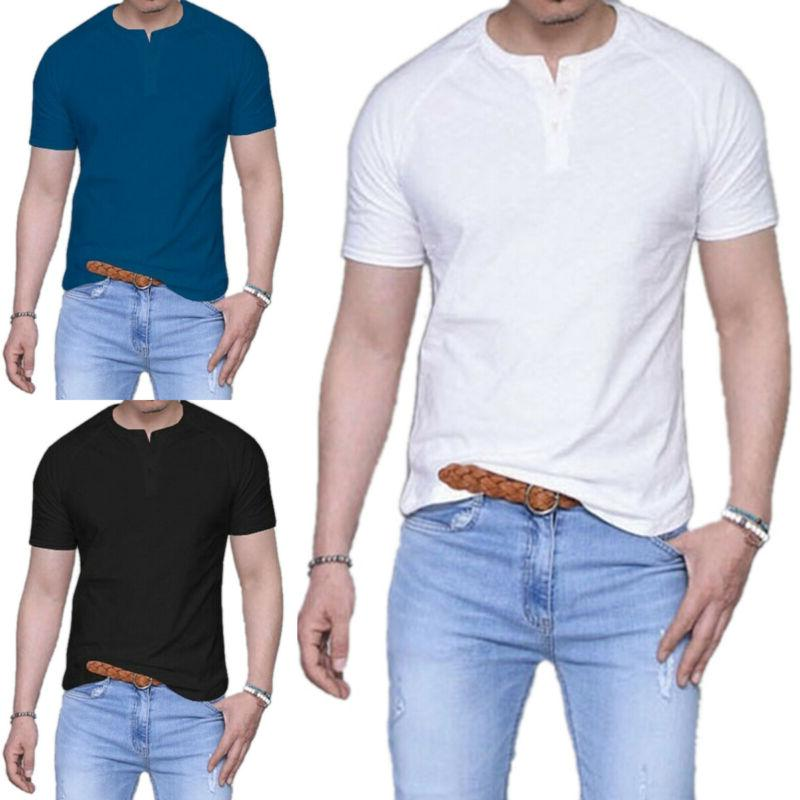 men summer short sleeve henley t shirts
