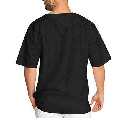 Mens Baggy Cotton Linen Tee Blouse Top US